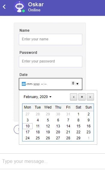 Form with Calendar Date Picker